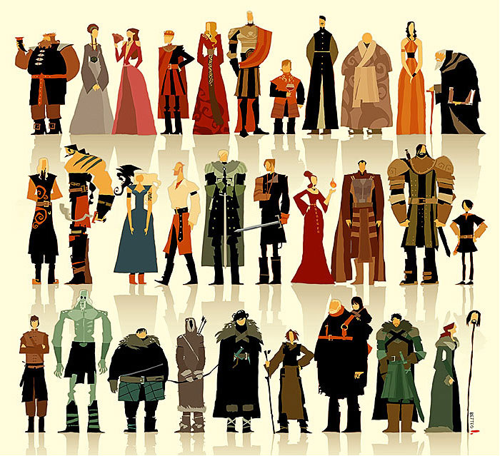 Game of Thrones characters illustration