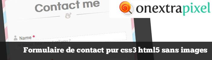 Formulaire de contact pur css3 html5 sans images