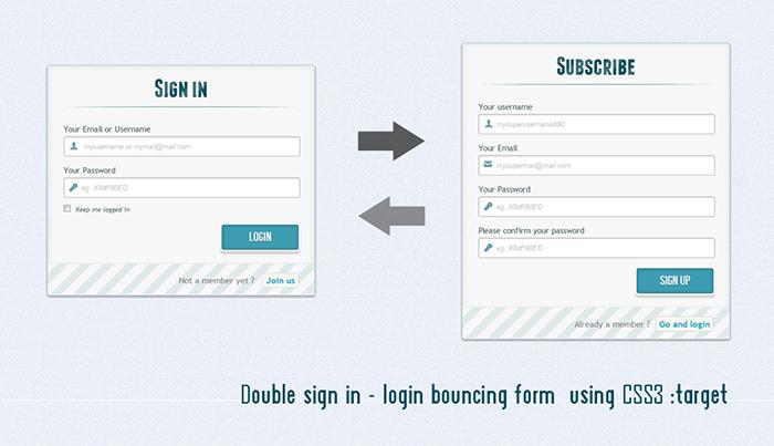 Formulaire de login et sign up  en HTML5 et CSS3