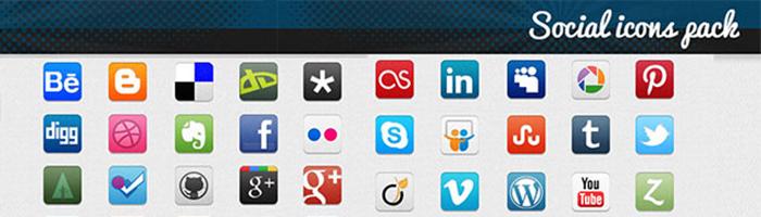 Pack de 30 icones sociales pour webdesigners et développeurs