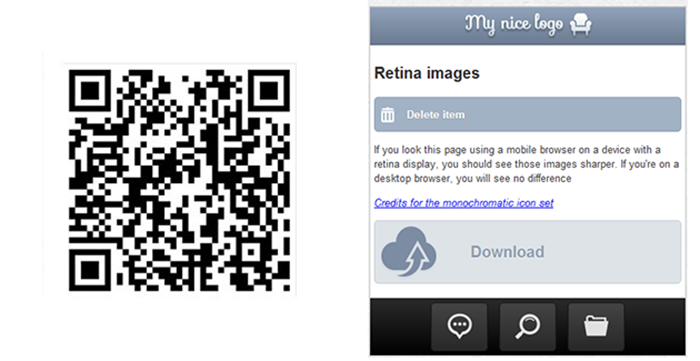 le qrcode ainsi qu'un screenshot de l'application