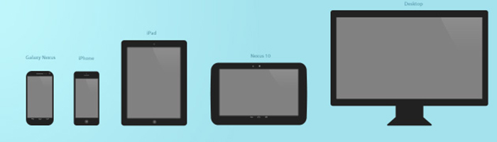 templates très minimalistes d'appareils mobiles, et d'un écran de bureau : Galaxy Nexus et Nexus 10 pour Android, iPhone et iPad pour iOS.