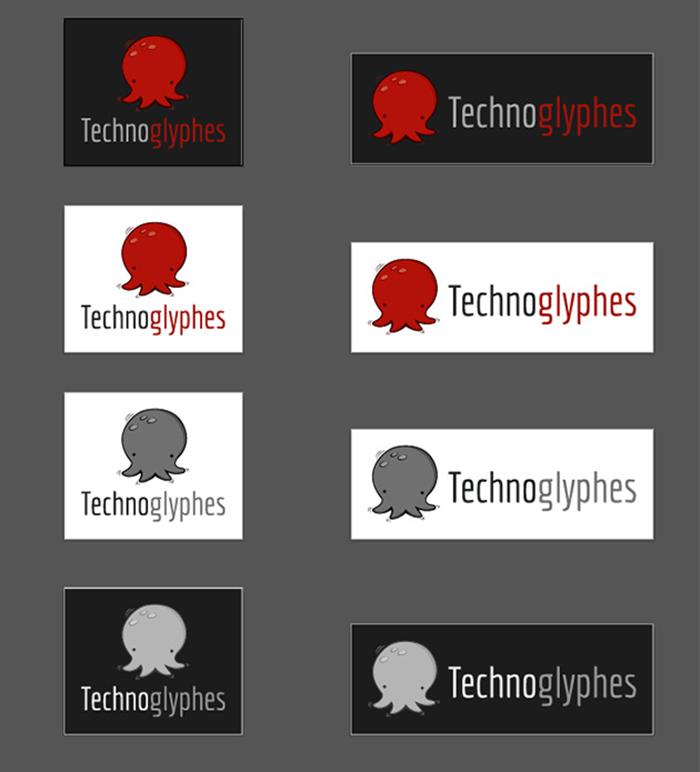 Versions finales et déclinées du logo Technoglyphes