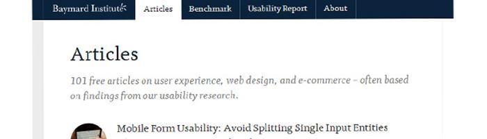 Baymardcom : des articles dédiés à l'ergonomie, expérience utilisateur et au e-commerce