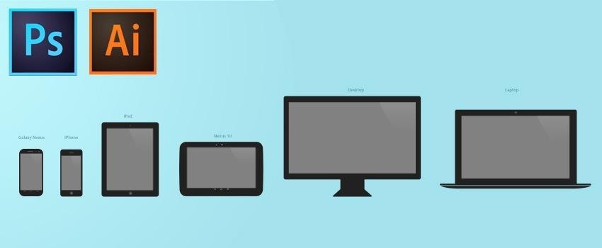 Template .PSD et .AI d'appareil mobile et desktop