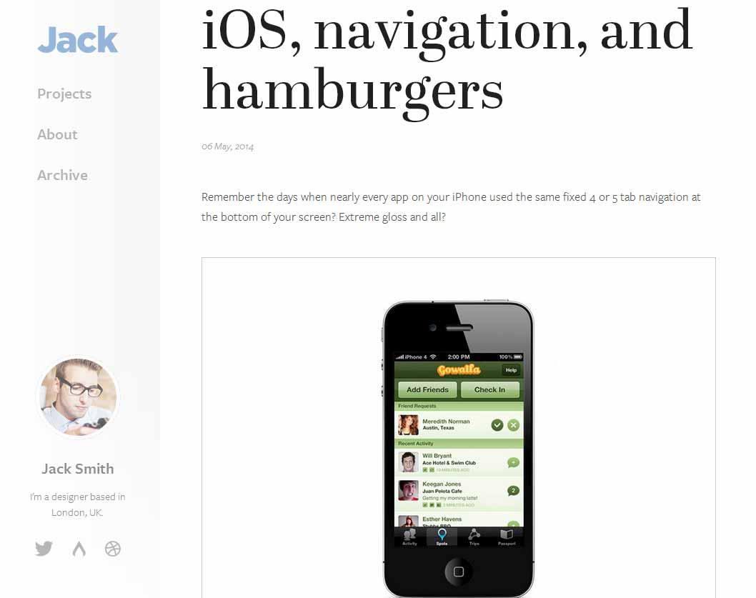 iOS, navigation, and hamburgers