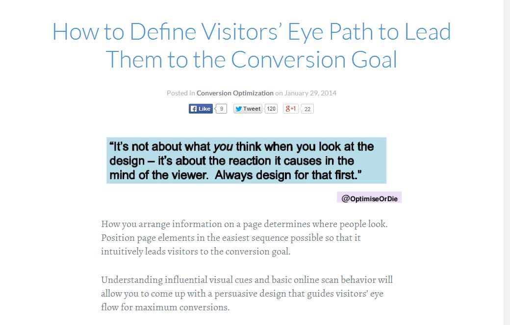 How to Define Visitors' Eye Path to Lead Them to the Conversion Goal