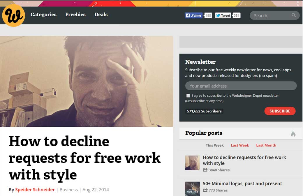 How to decline requests for free work with style