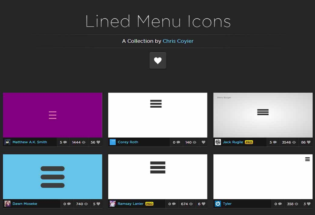 Lined menu icons