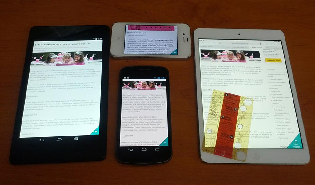 Test mobile avec la règle Touch Template