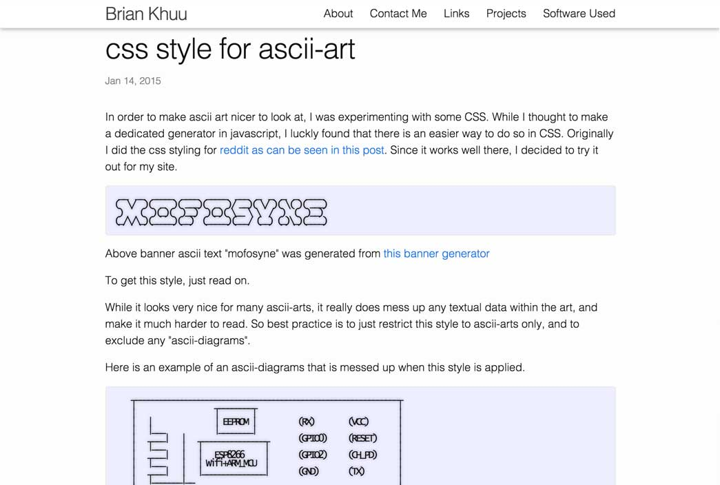 css style for ascii-art