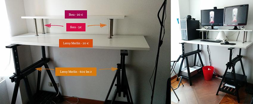 Mon bureau assis/debout (standing desk) pour moins de 110€