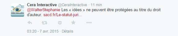 Tentative de réponse de Cera Interactive qui baffoue encore une fois mon droit d'auteur