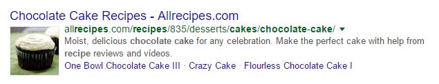 Image des SERP de chocolate cake