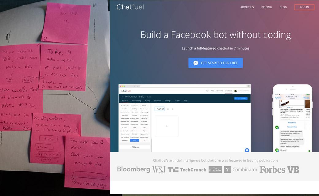 Chatfuel et prototypage en post it du chatbot
