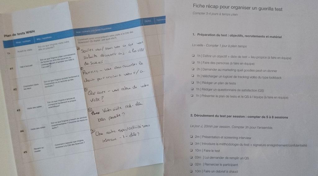 Plan de test utilisateur sur papier