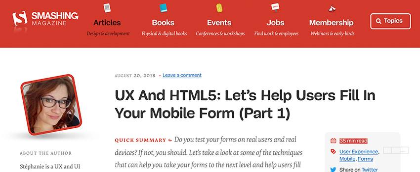 Améliorer l'expérience utilisateur des formulaires mobiles – partie 1
