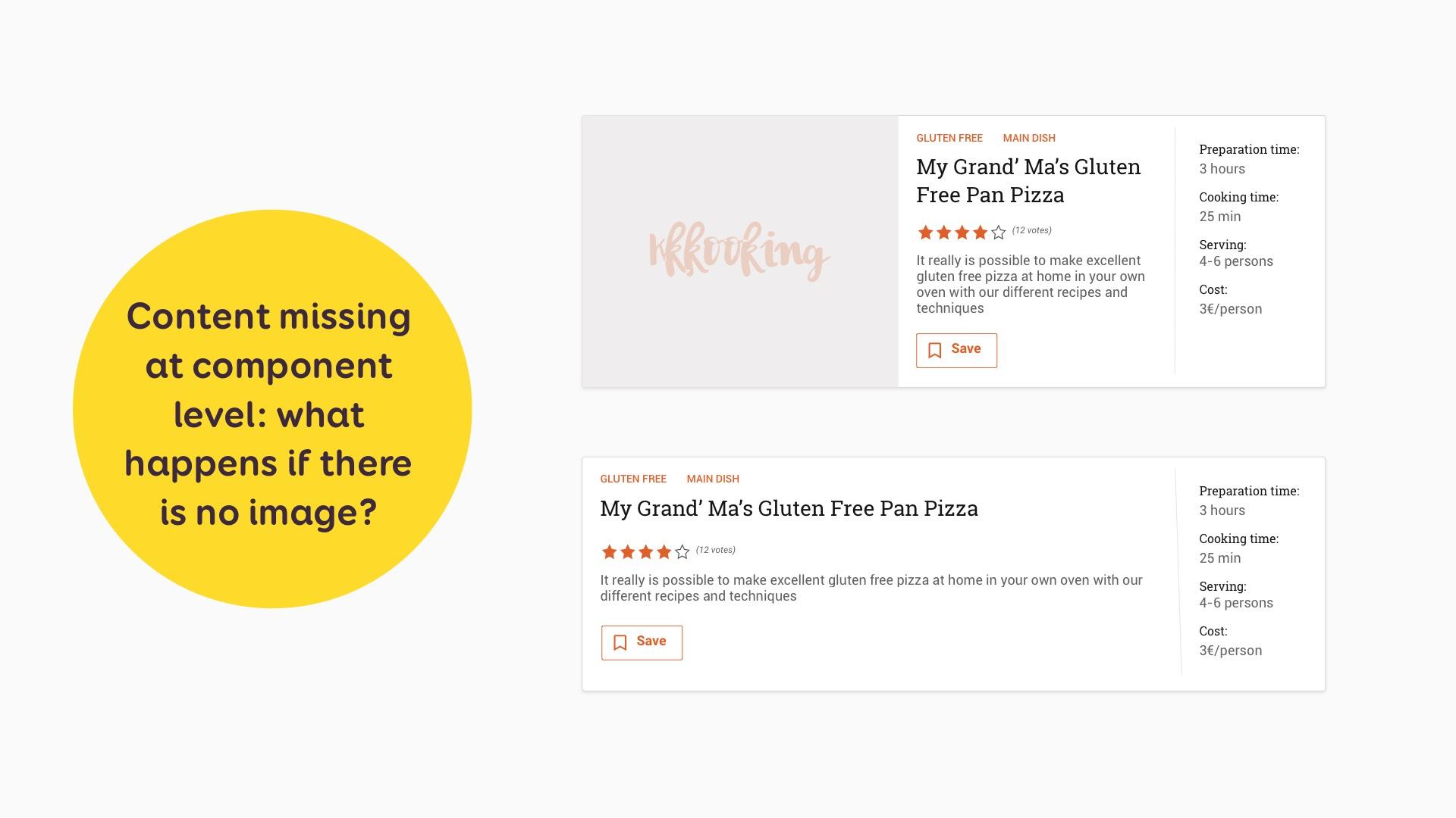 Deux miniatures de recettes, une avec un placeholder à la place de l'image et une où l'image a été retirée