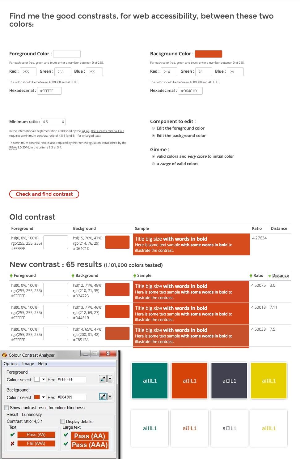 screenshot of accessible tanaguru background colors