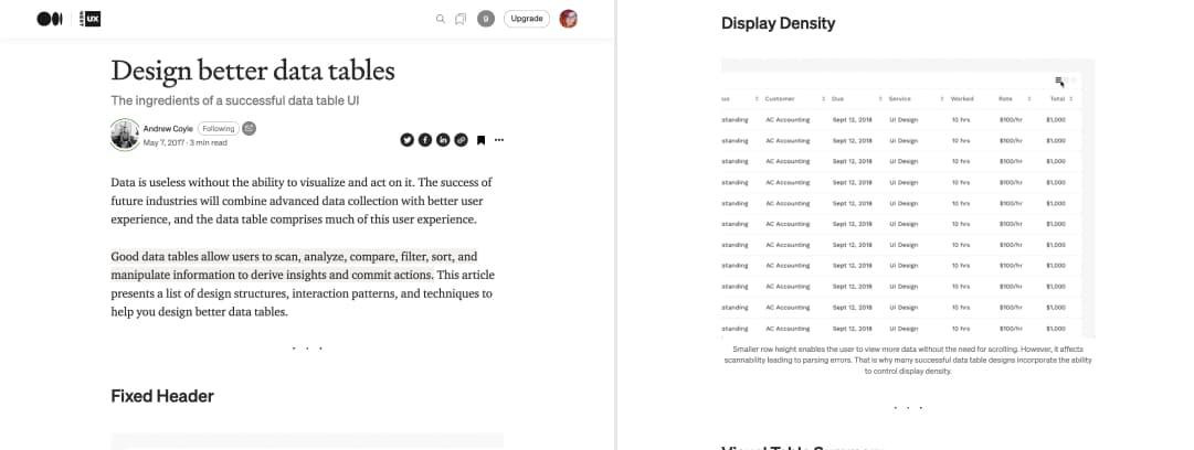 "Screenshot of ""Designing better tables"""