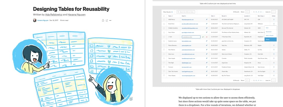 Screenshot of the content of Designing Tables for Reusability