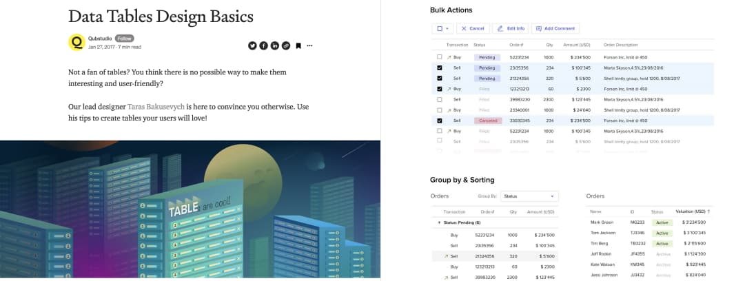 Screenshot of Data Tables DesignBasics