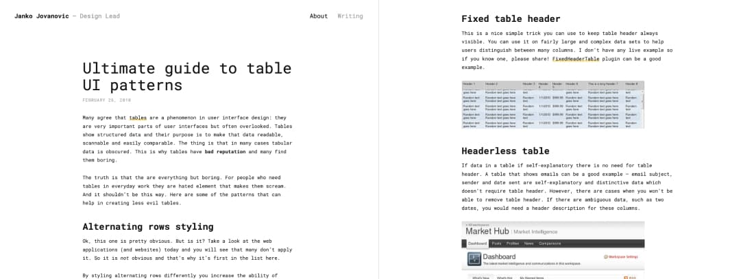 """Screenshot of """"Ultimate guide to table UI patterns"""""""