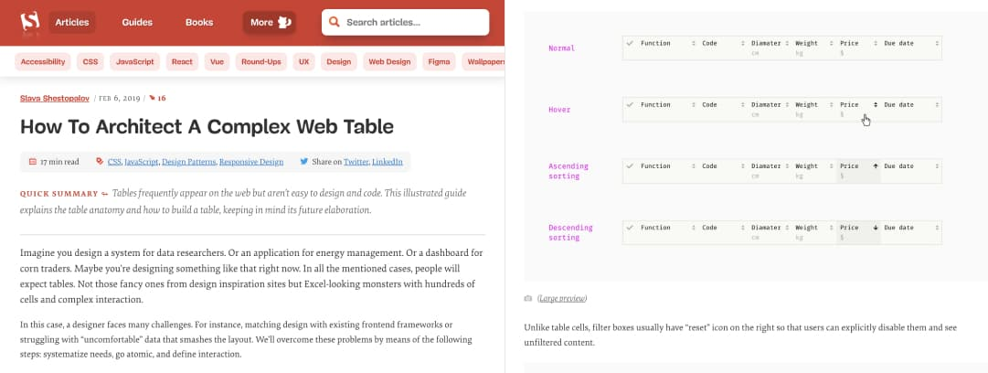 """Screenshot of """"How To Architect A Complex Web Table"""""""