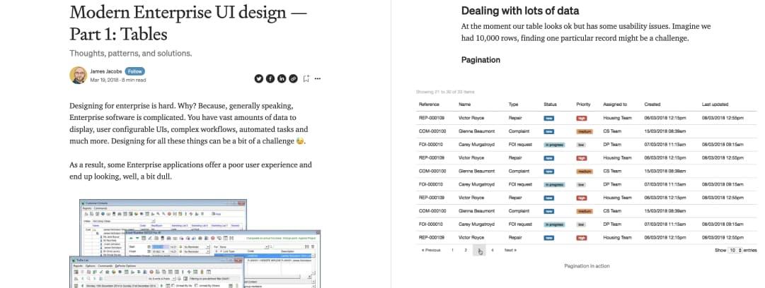 "Screenshot of ""Modern Enterprise UI design — Part 1: Tables"""