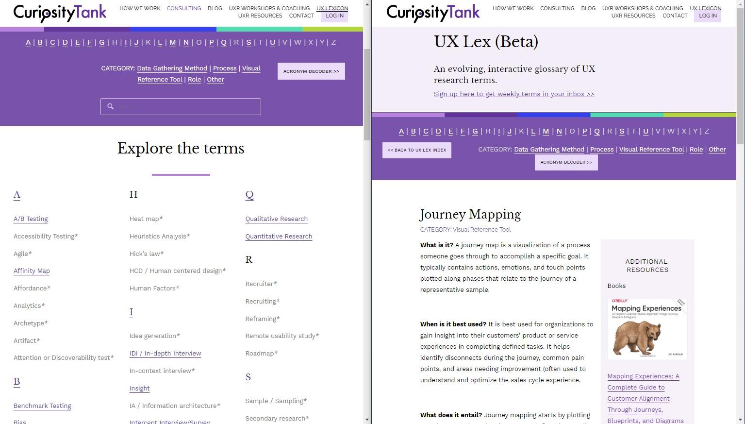 """Screenshot of UX Lex with the definition of the word """"Journey Mapping"""""""