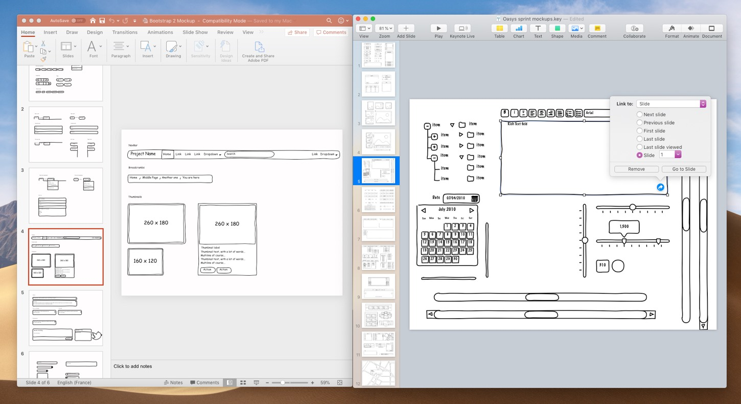 Example of prototyping templares for PowerPoint and Keynote