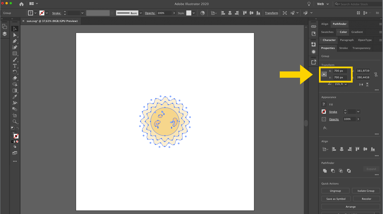 the sun SVG opened in illustrator showing the center of the element at 700px 700px