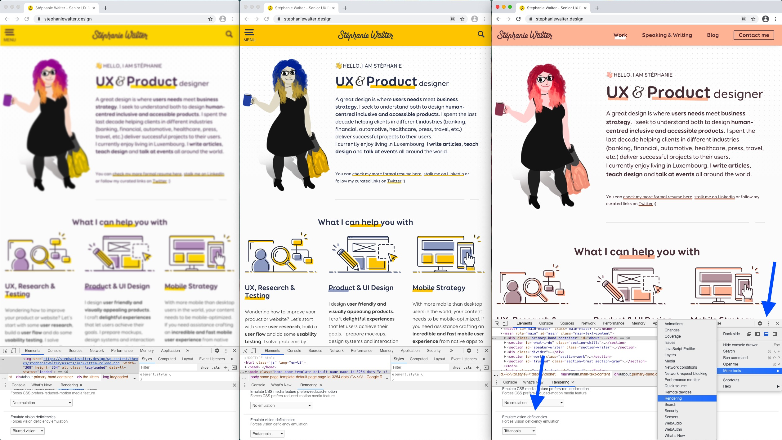 My web with 3 differents types of visual disability check