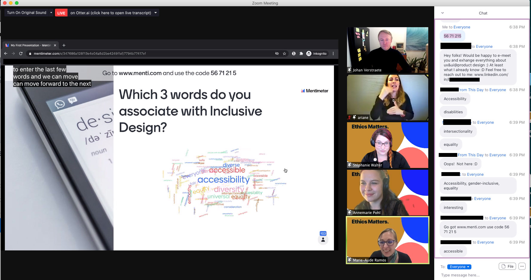 "Screenshot of the zoom call with us 4 on the right and in the middle a survey about ""3 words associated with inclusive design"""