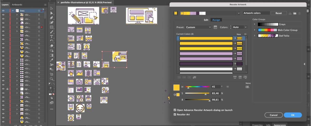 "Illustrator file opened with the ""recolor artwork"" example with yellow and purple colors"