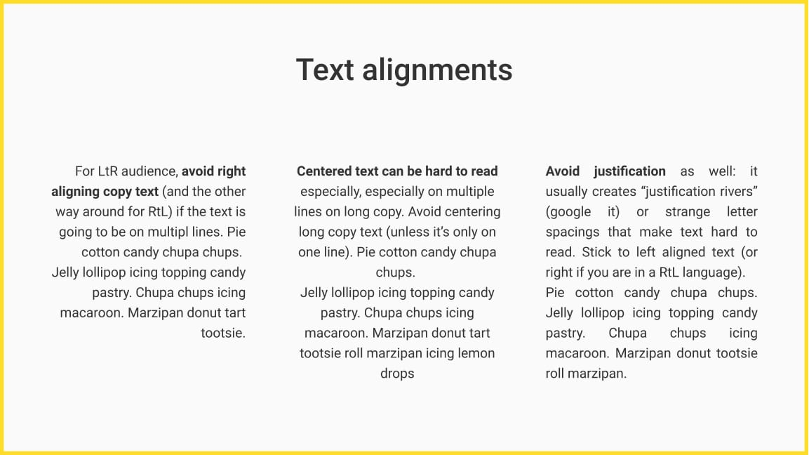 Examples of bad text agliements